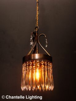 Vintage wrought iron pendant with hanging crystal
